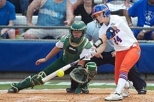 Freshman Kirsti Merritt scored one of Florida's two runs Sunday without the benefit of a hit.