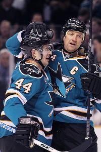 Marc-Edouard Vlasic and Rob Blake of the San Jose Sharks
