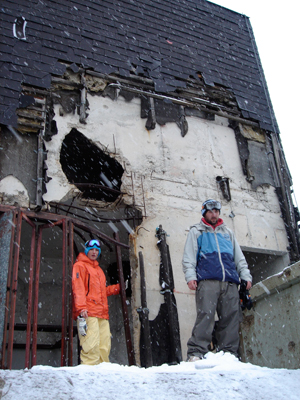 Beaman (L) and her crew were never short on structures to jib. Another blasted building, still upright but full of holes.