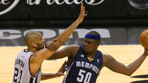 Zach Randolph and Tim Duncan