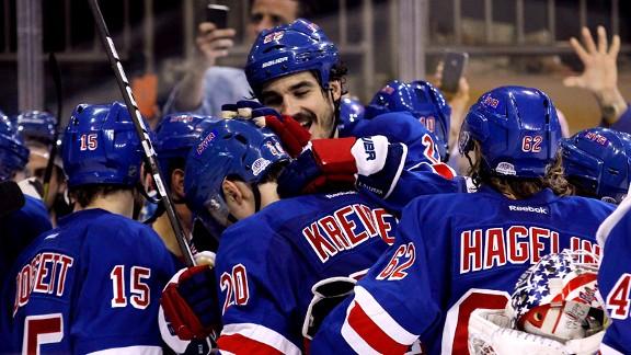 NHL Playoffs - New York Rangers Chris Kreider Game-winner