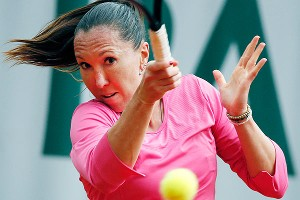 Jelena Jankovic overcame a love-5 deficit in the second set to clinch her match against Daniela Hantuchova.