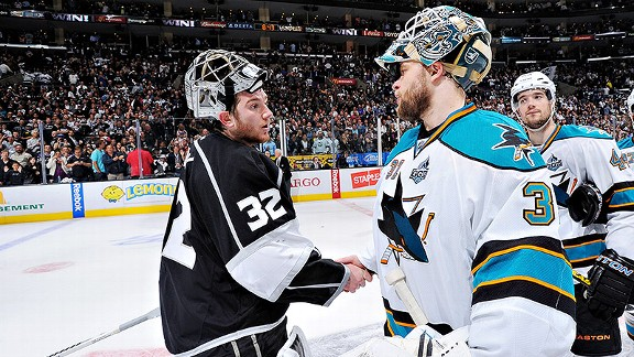 Jonathan Quick of the Los Angeles Kings and Antti Niemi of the San Jose Sharks