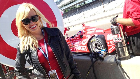 Courtney Force talked shop with some of the IndyCar drivers during an off-week stop at the Indianapolis 500.