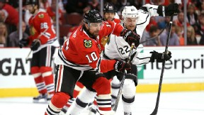 Patrick Sharp of the Chicago Blackhawks against the Los Angeles Kings