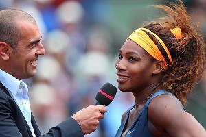 Serena Williams claimed conducting her postmatch interview in French was more difficult than her straight-set win over Roberta Vinci.
