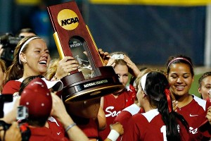 Oklahoma's Keilani Ricketts, left, led the Sooners to the Women's College World Series title Tuesday.