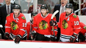 Jonathan Toews, Patrick Kane, Patrick Sharp of the Chicago Blackhawks