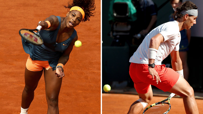 Serena Williams pounded some of the hardest women's serves ever, including a 128-mph ace on the last point of her match; Rafael Nadal tried something a little more unconventional against Novak Djokovic.