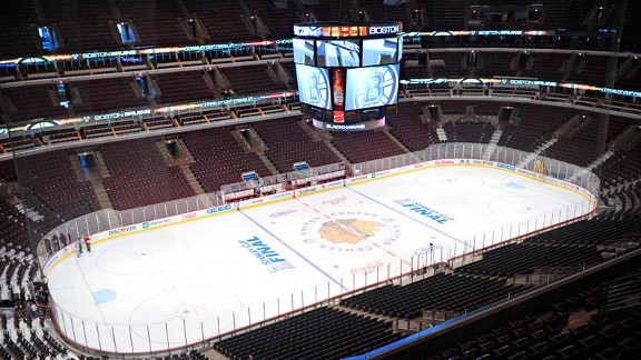 The Chicago Blackhawks' home ice at United Center.