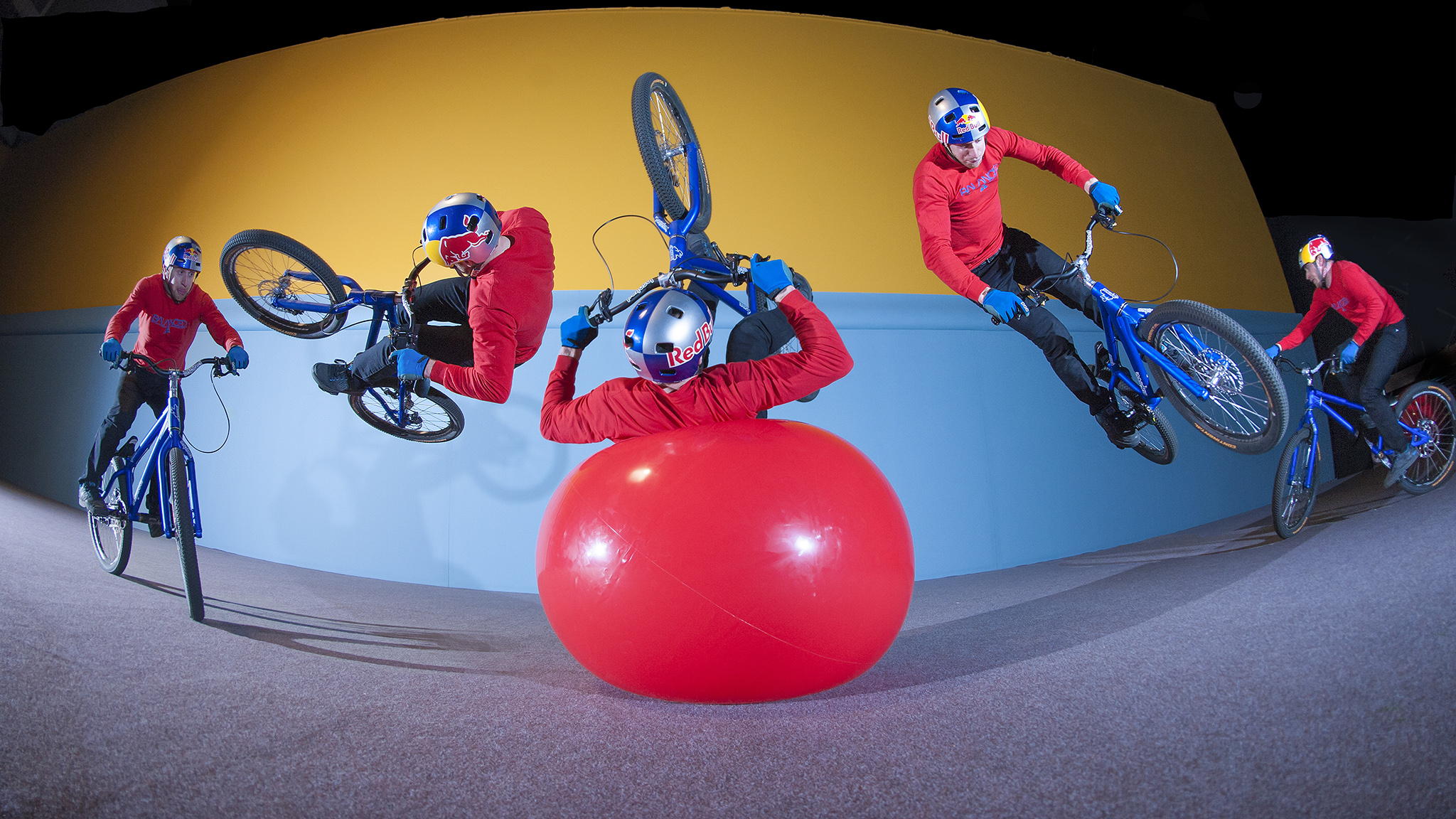 Danny MacAskill, flat ground barrel roll off of a giant rubber ball to fakie from Imaginate.