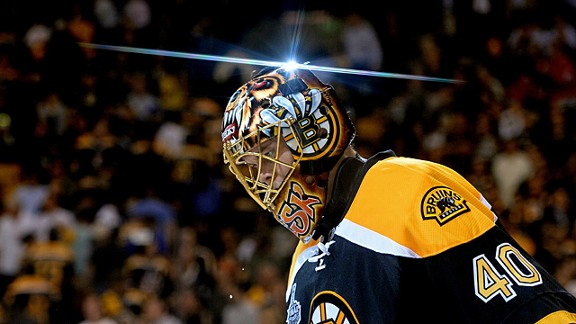 Tuukka Rask #40 of the Boston Bruins