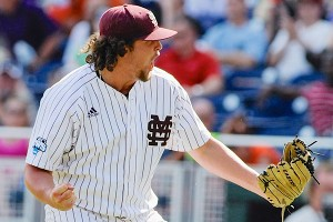 Mississippi State's Jonathan Holder reacts after the final out against Oregon State.