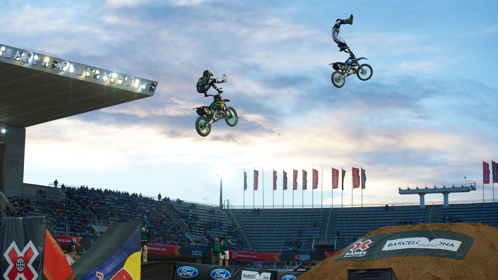 David Rinaldo and Adam Jones, right, during the Moto X Freestyle demo at X Games Barcelona.