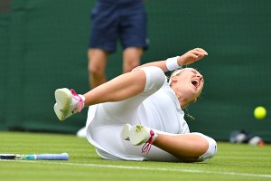 Victoria Azarenka pulled out of her second-round match, saying she hurt her knee slipping on the grass.