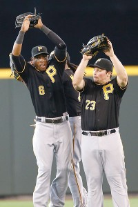 Starling Marte, Travis Snider and Andrew McCutchen