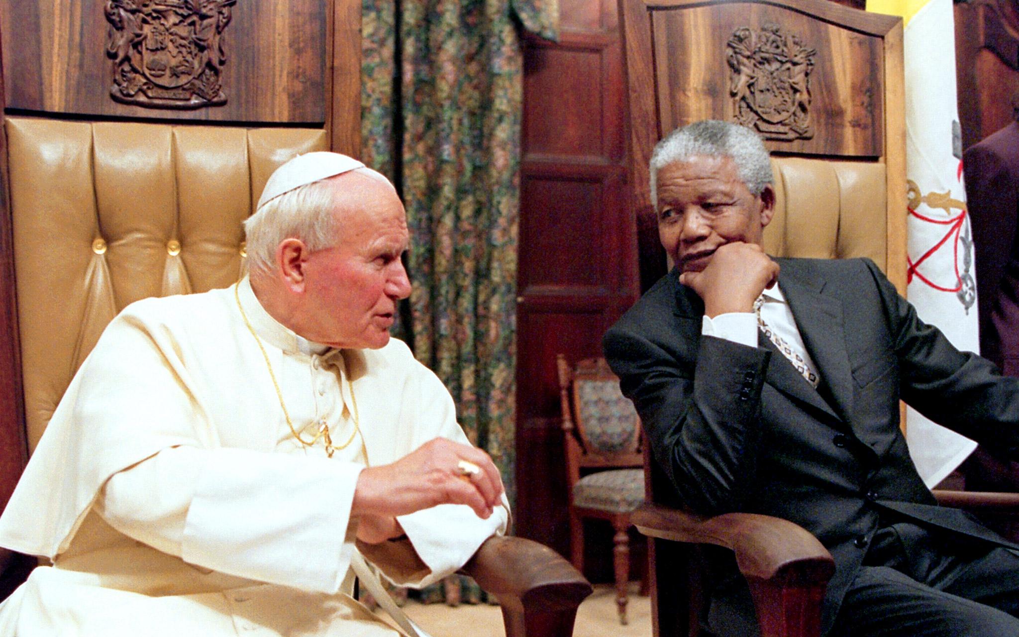 Pope John Paul II and Nelson Mandela