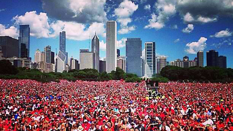 A sea of Blackhawks fans filled Grant Park to celebrate the Stanley Cup.