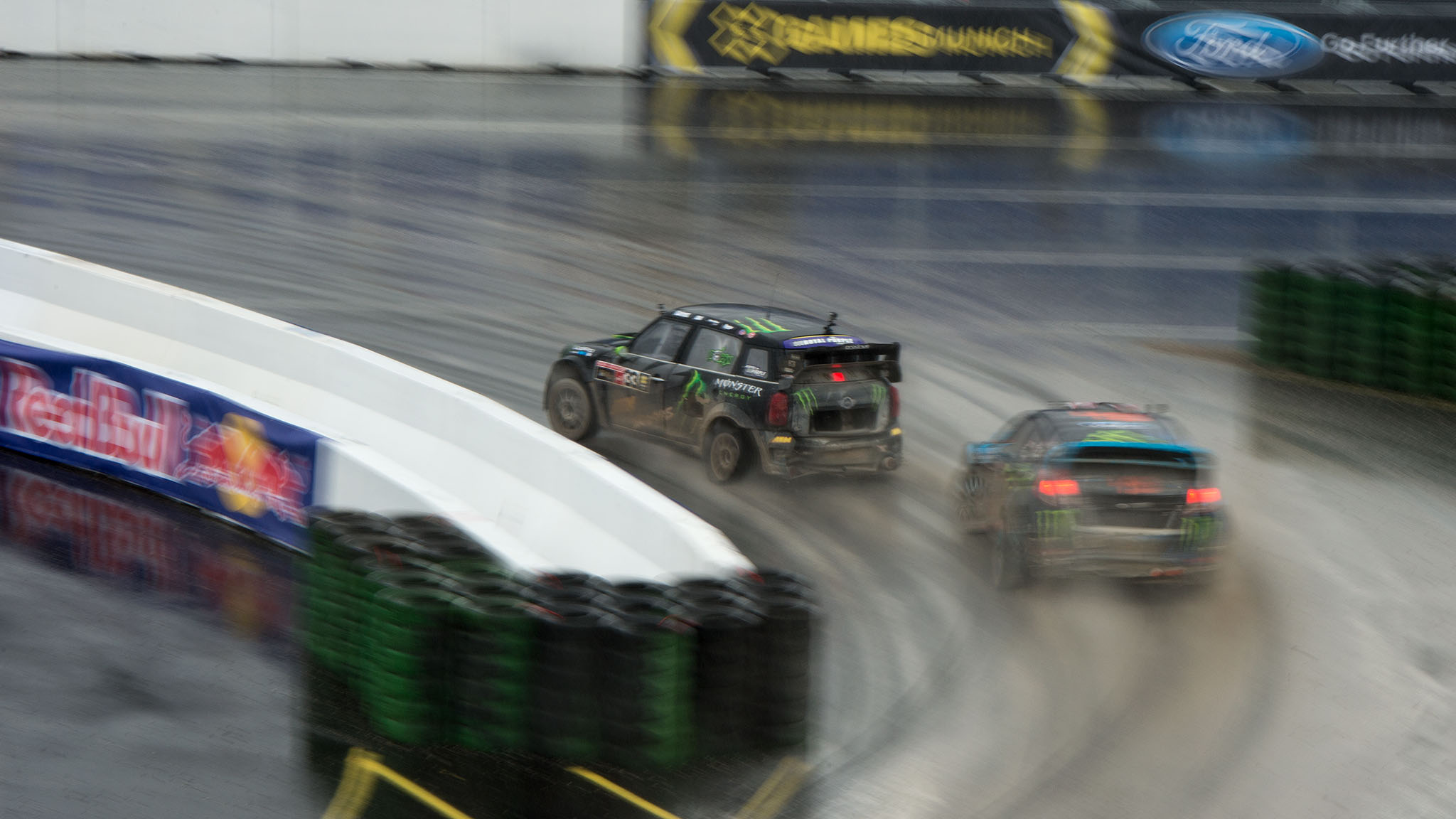 Liam Doran won a wet and wild RallyCross race at X Games Munich.