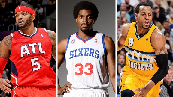 Josh Smith, Andrew Bynum and Andre Iguodala
