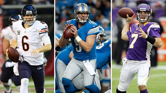 Jay Cutler, Matthew Stafford, and Christian Ponder