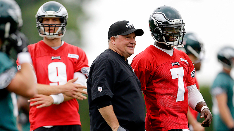 Chip Kelly, Nick Foles and Michael Vick
