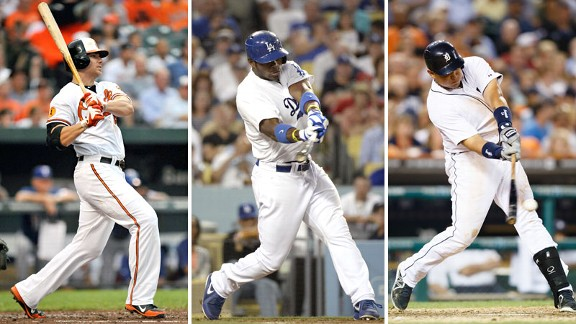 Chris Davis, Yasiel Puig and Miguel Cabrera