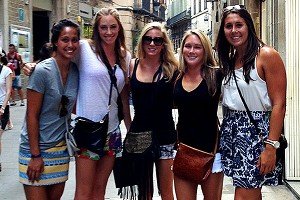 Annika Dries and her teammates took time to enjoy Barcelona this week, including getting together for a tapas dinner.