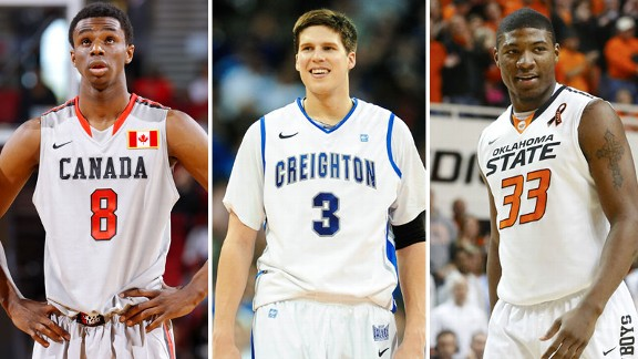 Andrew Wiggins of the Kansas Jayhawks, Doug McDermott of the Creighton Bluejays and Marcus Smart of the Oklahoma State Cowboys
