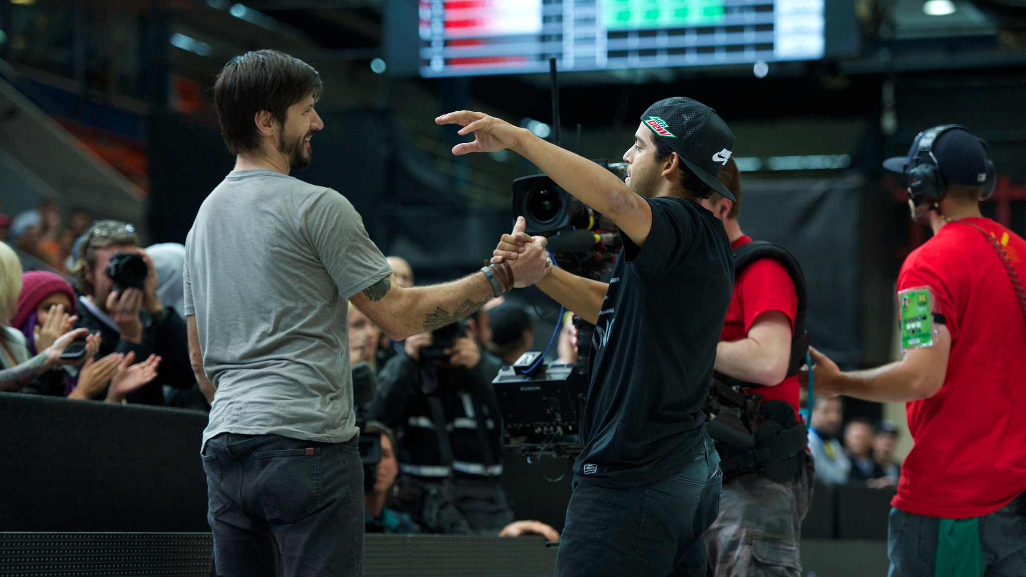 Paul Rodriguez (right) congratulates Chris Cole after Cole won the Street League Series contest at X Games Munich. The two will compete against Nyjah Huston, who missed Munich with an injury, in L.A.