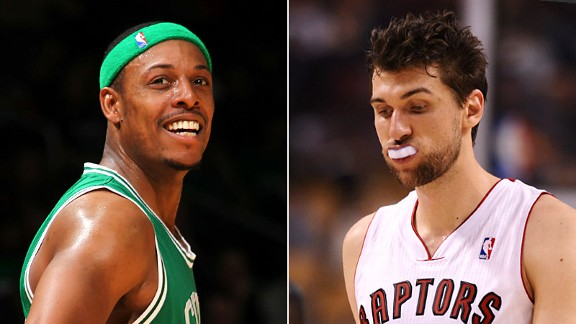 Paul Pierce and Andrea Bargnani