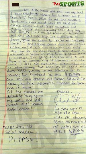 Aaron Hernandez Letter