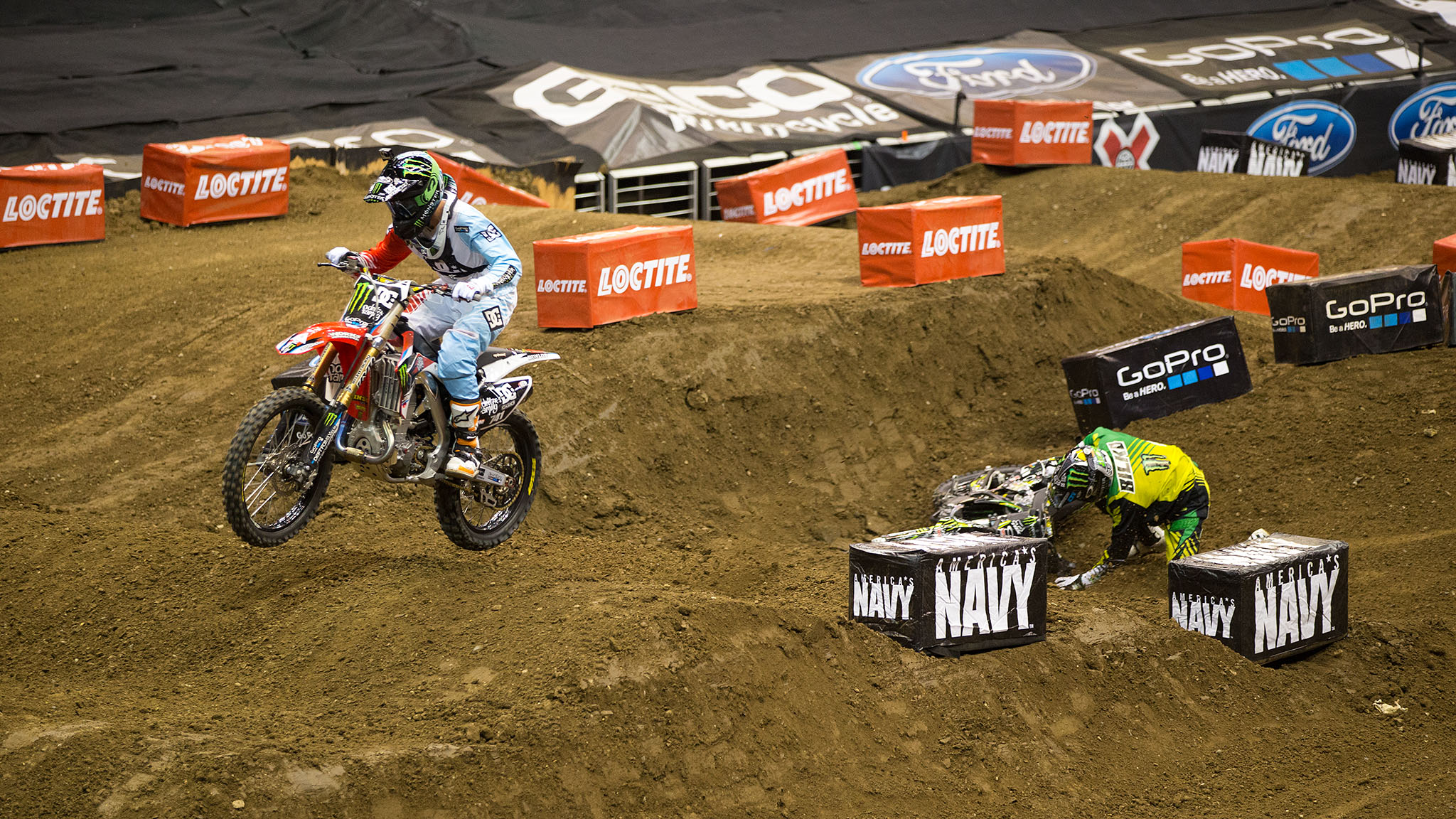 Nate Adams passes Blake Bilko Williams in the final for Speed & Style at X Games Los Angeles 2013. Williams crashed on the third lap, allowing Adams to take the lead and secure his fourth X Games gold medal and 18th overall, the most Moto X medals in X Games history.
