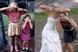 Jessica Jerome and her sister, Shannon, replicated this photo from 20 years ago on Shannon's wedding day this summer.