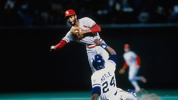 Ozzie Smith #1 of the St. Louis Cardinals