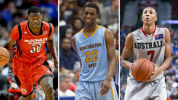 Julius Randle, Andrew Wiggins, and Dante Exum