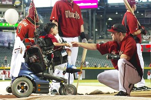 Kyle Byrd and his family, including his twin sister, Lauren, visited the Arizona Diamondbacks at Chase Field before a game in April.