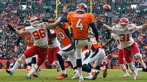Will there be a rare Britton Colquitt sighting against the Chiefs on Sunday?
