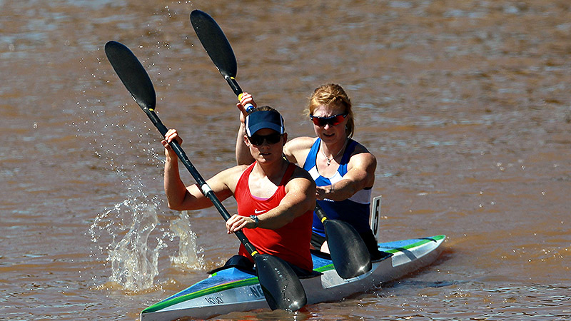 Kaitlyn McElroy, right, with Maggie Hogan, switched to the kayaking after a training accident ended her career as a cross-country skier.
