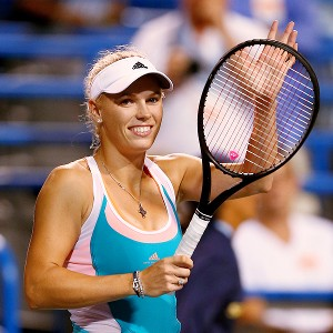 Caroline Wozniacki beat Sloane Stephens 7-6 (6), 6-2 on Thursday, improving her record to 23-1 at the Connecticut Tennis Center.