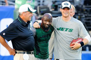 Rex Ryan, Santonio Holmes and Greg McElroy
