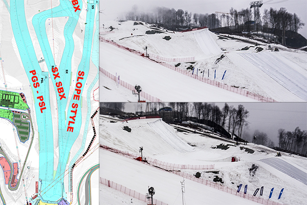 Slopestyle will share its last jump with the boardercross course. The overlap is illustrated in the map to the left. Two views of the shared final jump are on the right.