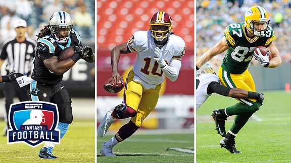 DeAngelo Williams, Robert Griffin III, and Jordy Nelson