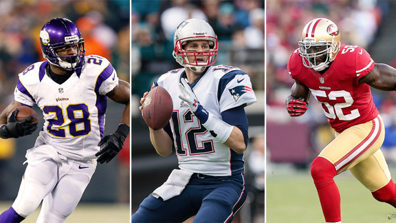Adrian Peterson, Tom Brady, Patrick Willis