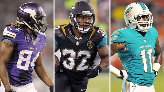 Cordarrelle Patterson of the Minnesota Vikings, Maurice Jones-Drew of the  Jacksonville Jaguars and Mike Wallace of the Miami Dolphins