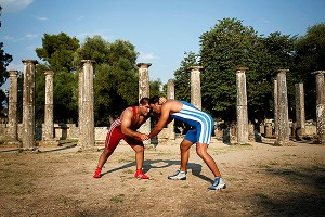 Greece opened up an ancient Games site to competition in its support of wrestling's bid to remain in the Olympics.