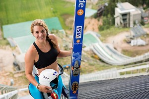 Abby Hughes has overcome a fear of heights and says ski jumping is like a drug.