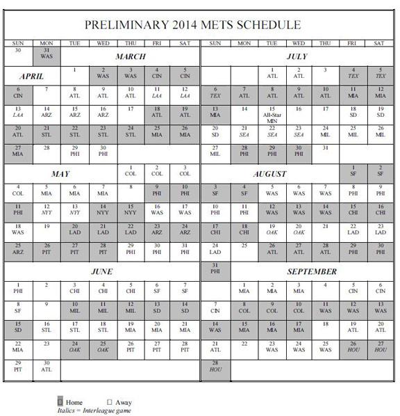 Mets Schedule New York Mets | Caroldoey
