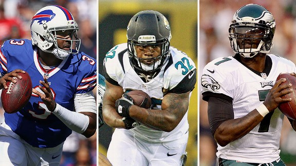 E.J. Manuel, Maurice Jones-Drew, and Michael Vick
