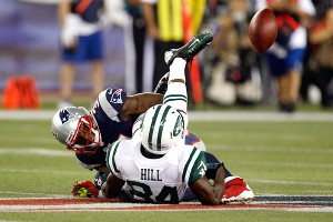 Stephen Hill and the Jets receivers had a tough time hanging on to the ball Thursday night.